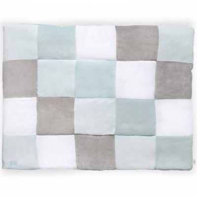 tapis de jeu patchwork vert jade et gris 80 x 100 cm. Black Bedroom Furniture Sets. Home Design Ideas