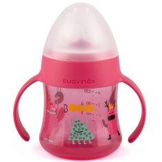 Biberon à anses et bec en silicone anti-fuites Booo rose (150 ml)