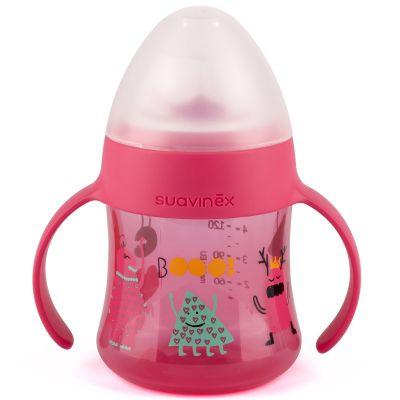 Biberon à anses et bec en silicone anti-fuites Booo rose (150 ml)  par Suavinex