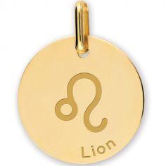 Médaille zodiaque Lion personnalisable (or jaune 750°)