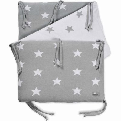 tour de lit star gris et blanc pour lit 60 x 120 cm par baby 39 s only. Black Bedroom Furniture Sets. Home Design Ideas