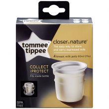 Lot de 4 pots de conservation du lait Closer to Nature (60 ml)  par Tommee Tippee