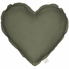 Coussin coeur olive Pure nature (40 cm)