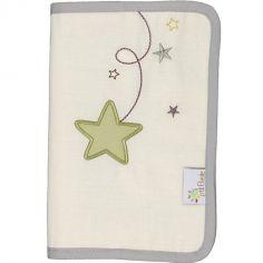 Protège carnet de santé en coton bio Pluie d'étoiles