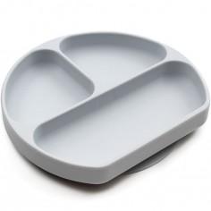 Assiette compartimentée à ventouse grise