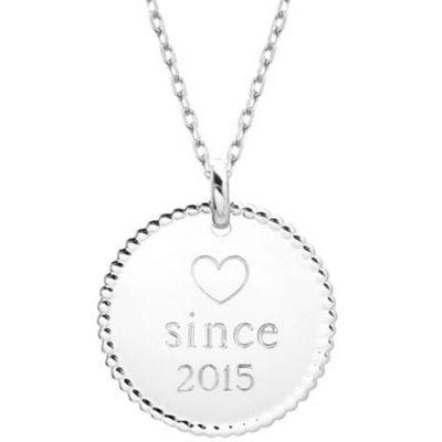 Collier médaille perlée chaîne 50 cm personnalisable (argent 925°) Petits trésors