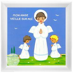 Tableau religieux Ange Gardien garçon bleu (15 x 15 cm)