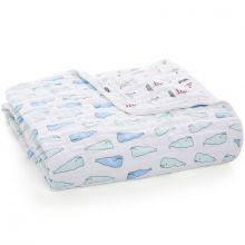 Couverture de rêve Dream Blanket Whales + boats (120 x 120 cm)  par aden + anais