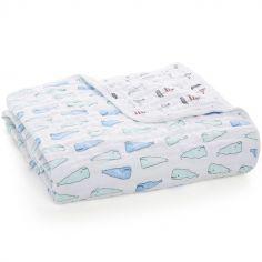 Couverture de rêve Dream Blanket Whales + boats (120 x 120 cm)