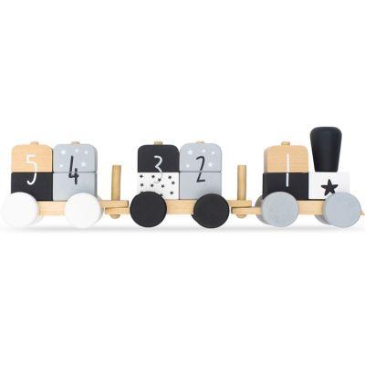 Train de construction en bois gris et blanc  par Jollein