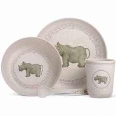 Coffret repas en bambou Rhinocéros (4 pièces)