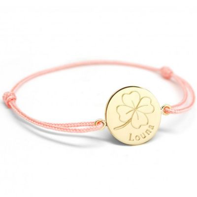Bracelet cordon Trèfle personnalisable (plaqué or)  par Petits trésors