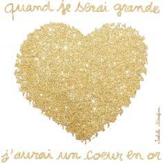 Tableau Coeur en or (30 x 30 cm)