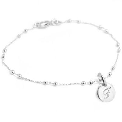 Bracelet chaîne perlée médaille ronde personnalisable (argent 925°) Petits trésors