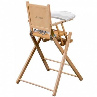 chaise haute pliante en bois massif naturel personnalisable par combelle. Black Bedroom Furniture Sets. Home Design Ideas