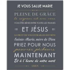 Tableau de prière Je vous salue Marie gris ardoise (33 x 41 cm)