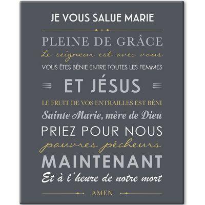 Tableau de prière Je vous salue Marie gris ardoise (33 x 41 cm)  par Mes Mots Déco