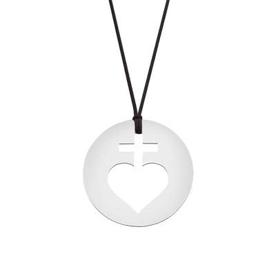 Collier cordon médaille Mini Sacré Coeur 10 mm (or blanc 750°) Maison La Couronne