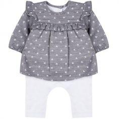 Combinaison tee-shirt manches longues et legging gris et blanc (6 mois : 67 cm)