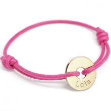 Bracelet cordon Mini jeton (or jaune 750°)  par Petits trésors