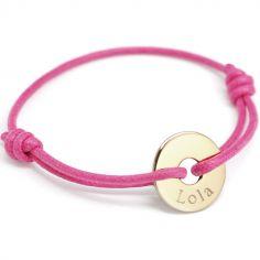 Bracelet cordon Mini jeton (or jaune 750°)