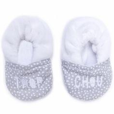 Chaussons en coton Trop chou blanc et gris (0-6 mois)