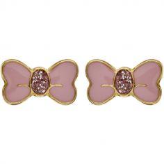 Boucles d'oreilles Noeud laque rose (or jaune 750°)