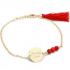 Bracelet femme Bahia rouge plaqué or (personnalisable)