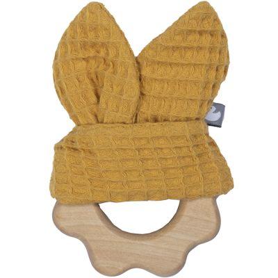 Anneau de dentition en bois nid d'abeille jaune moutarde  par BB & Co