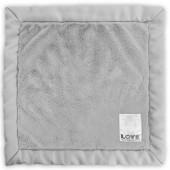Doudou couverture Love by Little Giraffe Posh satin gris (40 x 40 cm) - Little giraffe