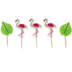 Lot de 5 bougies d'anniversaire flamant rose Jungle Fever
