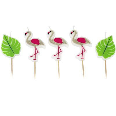 Lot de 5 bougies d'anniversaire flamant rose Jungle Fever  par Arty Fêtes Factory