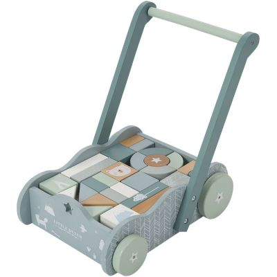 Chariot de marche avec blocs de construction Adventure blue  par Little Dutch