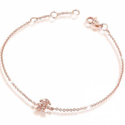 Bracelet sur chaîne Briciole fille (or rose 750° et pavé de diamants)  par leBebé