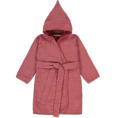 Peignoir en mousseline de coton bois de rose (12-18 mois)
