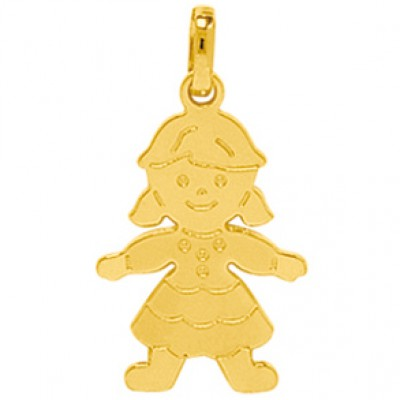 Pendentif petite fille heureuse (or jaune 750°)  par Berceau magique bijoux