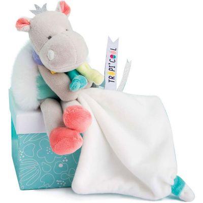 Doudou mouchoir Tropi'cool Hippopotame (20 cm) Doudou et Compagnie