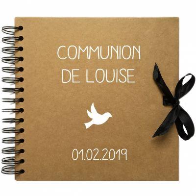 Album photo communion personnalisable kraft et blanc (20 x 20 cm) Les Griottes