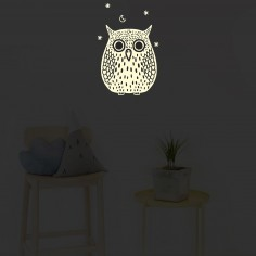 Stickers muraux phosphorescent Hibou