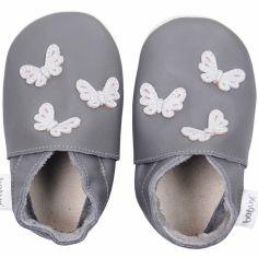 Chaussons en cuir Soft soles papillons gris (3-9 mois)