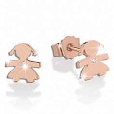 Boucles d'oreilles Briciole fille (or rose 750° et diamant)