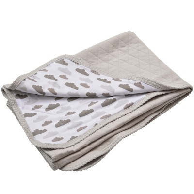 Couverture en coton quilt nuage beige et gris 100 x 150 cm - Couverture en coton ...