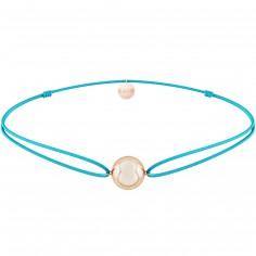Bracelet cordon turquoise Mini bola Joy (plaqué or rose)