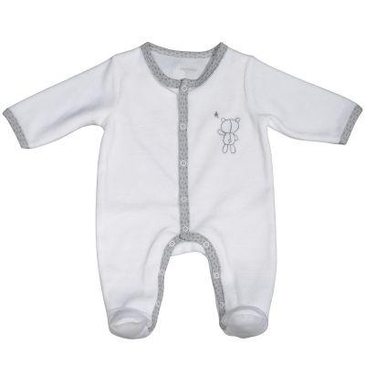 Pyjama chaud blanc nounours Céleste (3 mois : 60 cm)  par Sauthon