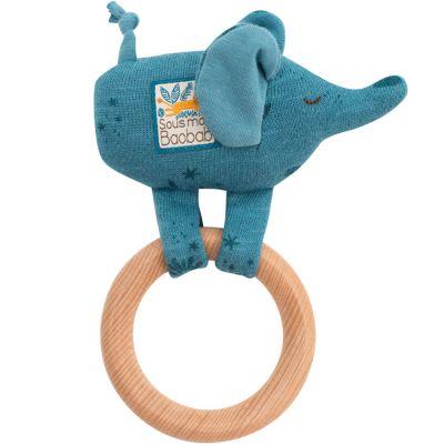 Hochet anneau en bois éléphant Sous mon baobab  par Moulin Roty