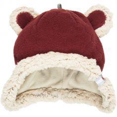 Bonnet ours rouge bordeaux Botanimal (3-6 mois)