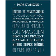 Tableau Papa d'amour bleu navy (33 x 41 cm)