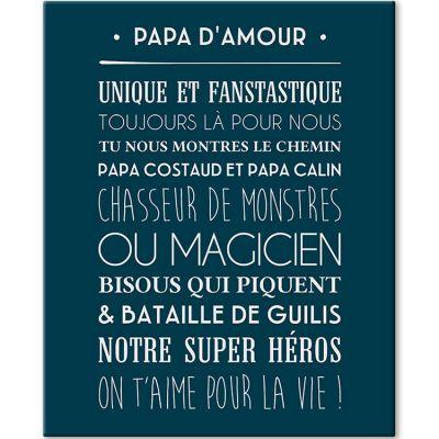 Tableau Papa d'amour bleu navy (33 x 41 cm)  par Mes Mots Déco