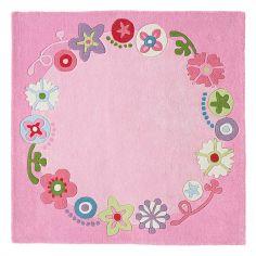 Tapis carré rose Couronne fleurie (140 x 140 cm)