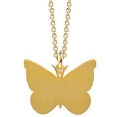 Collier chaîne 40 cm pendentif Nature papillon 20 mm (vermeil doré)
